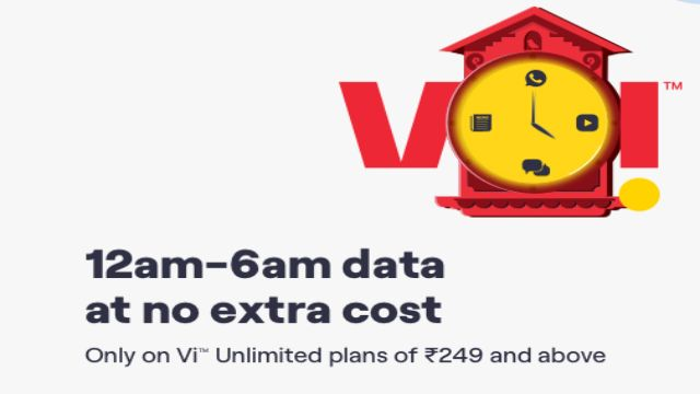 12AM to 6PM Vi Unlimited Free Data