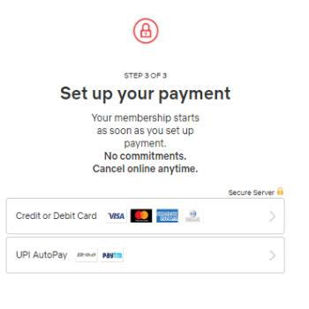 Netflix Payment Page